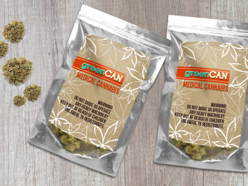 Cannabis labels on a marijuana packaging